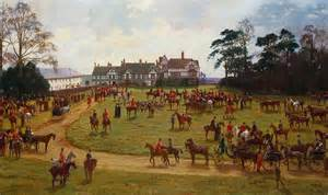 George Duvet Cover The Cheshire Hunt The Meet At Calveley Hall Painting By