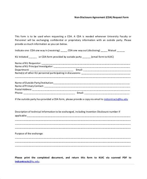 cda agreement template cda agreement choice image agreement letter format