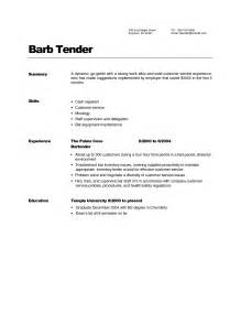 bartender cover letter no experience sle bartending resume nyc