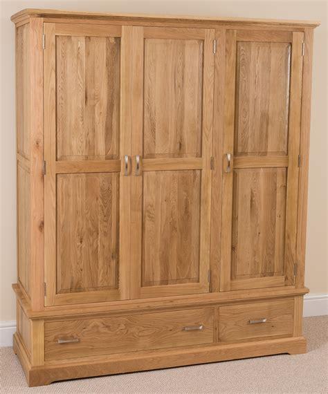 aspen oak bedroom furniture aspen solid oak wood triple wardrobe with 2 drawers
