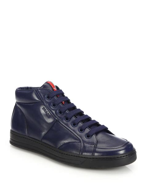 prada shoes for lyst prada mid top leather sneakers in blue for