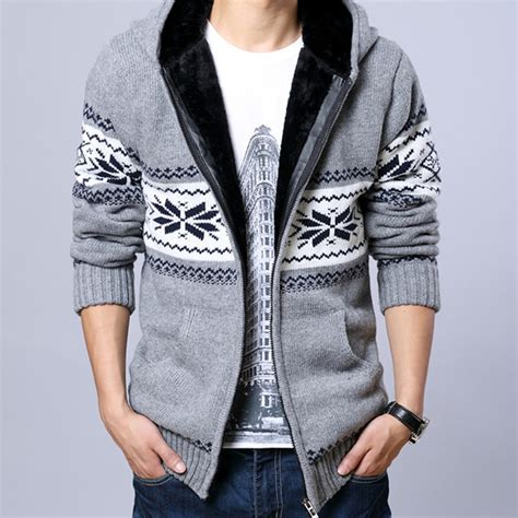 Jaket Sweater Hoodie Jumper Biru Less Is More Keren 2017 fleece hooded knit sweaters snowflake mens thick sweater zipper cardigan