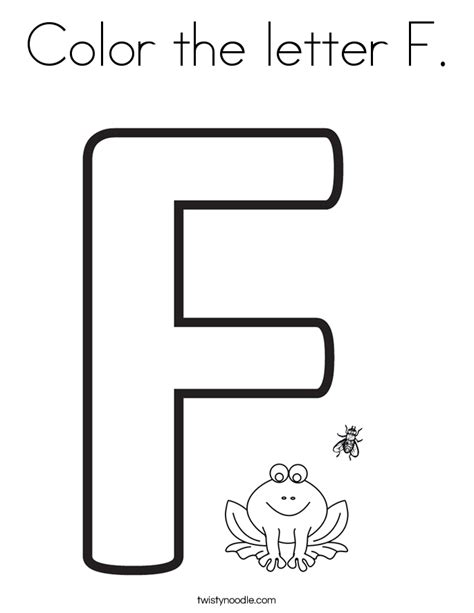 color that starts with f color the letter f coloring page twisty noodle