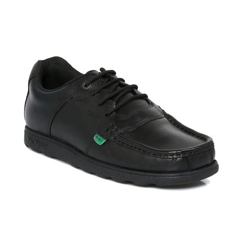 kickers fragma black leather mens boys school shoes size 6