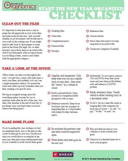 printable organizing checklists start the new year organized free printable checklist