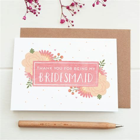 Kartu Bridesmaid Wedding thank you for being my bridesmaid card by joanne hawker