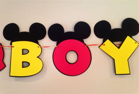 Ribbon Metal Wall Decor It S A Boy Mickey Mouse Baby Shower Banner Mickey Mouse