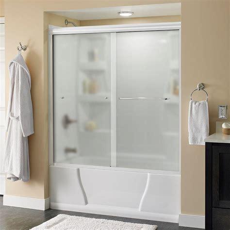 bathtub shower doors with mirror delta simplicity 60 in x 58 1 8 in semi frameless