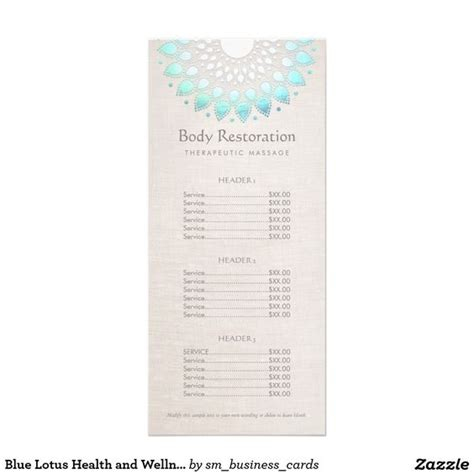 Health Coach Brochure Templates by Blue Lotus Health And Wellness Price List Menu Rack Card