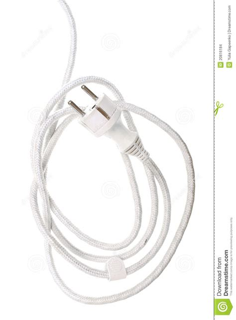 white electric cable isolated stock images image 20816184
