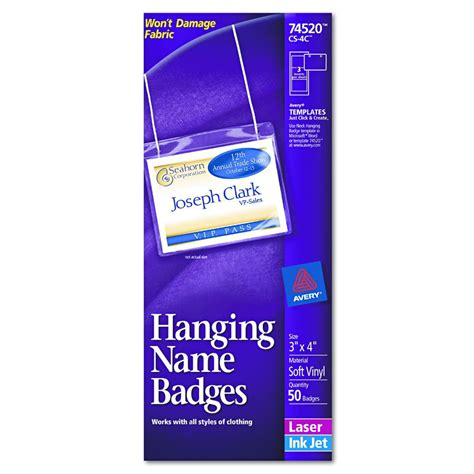 Avery Dennison Insertable Name Badge Kit Hnging 3x4 Box Of 50 Model 74520 Avery Template Name Badge 3x4