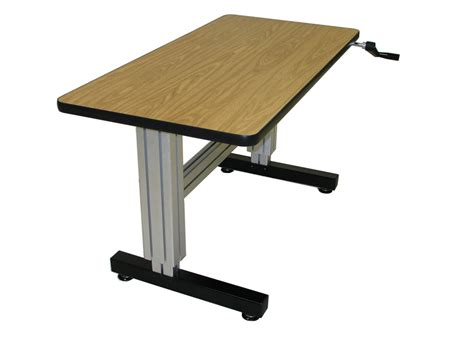 Single Surface Hand Crank Adjustable Height Desks Ergosource Adjustable Desk For