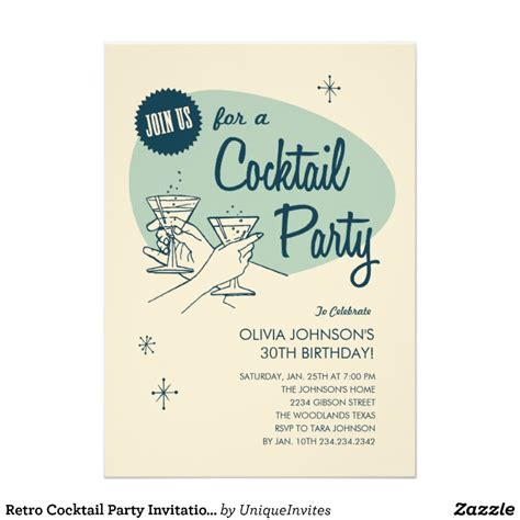 cocktail invitation template retro cocktail invitations zazzle