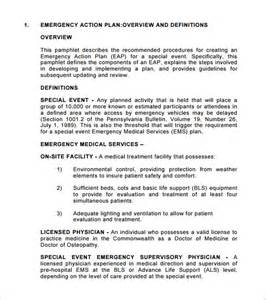 emergency action plan template 8 free sle exle