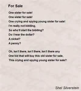 for sale poem by shel silverstein poem hunter