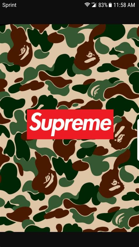 Supreme X Bape Bathing Ape For Samsung J7 Pro Note 8 camo supreme wallpapers to your cell phone