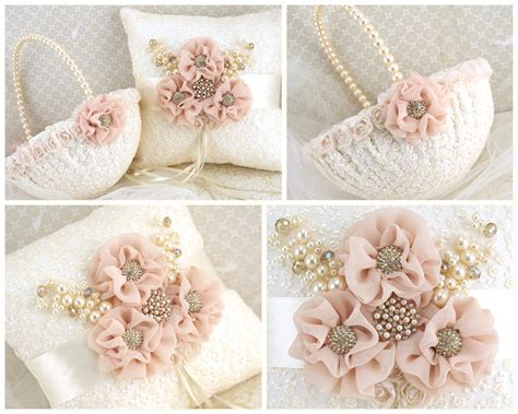 Ring Pillows And Flower Baskets by Ring Bearer Pillow Flower Basket Ivory Gold