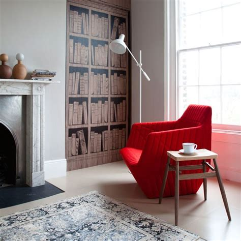 living room with bookcase wallpaper housetohome co uk