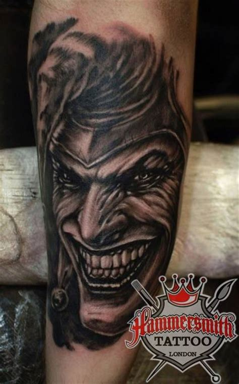 joker tattoo black and white ivan bor joker black and grey tattoo by hammersmithtattoo