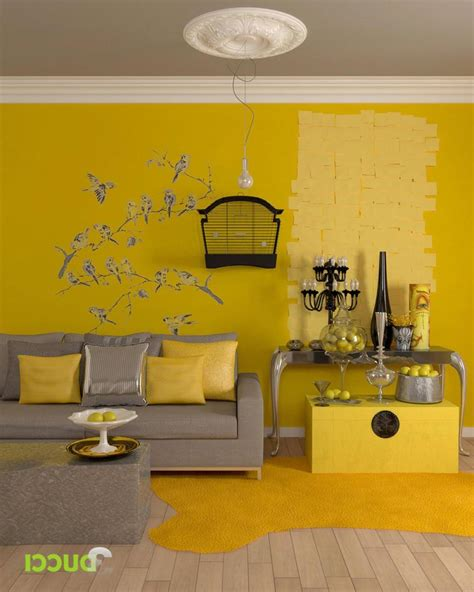 yellow room yellow living room interior color themes with bird sticker