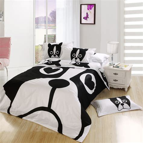 queen size kid bedroom sets black and white dog print kids cartoon bedding comforter
