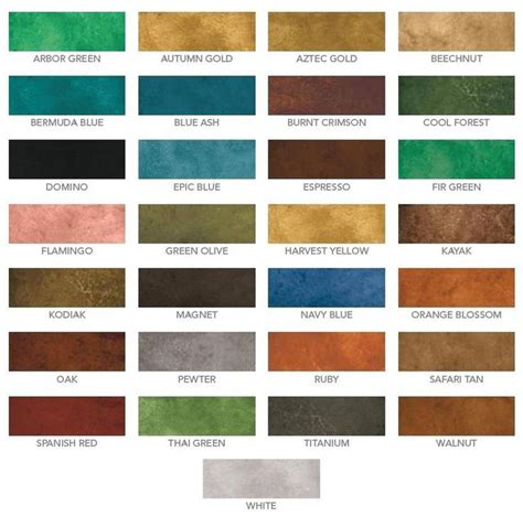 water based stain colors eco stain concrete stain water based color chart