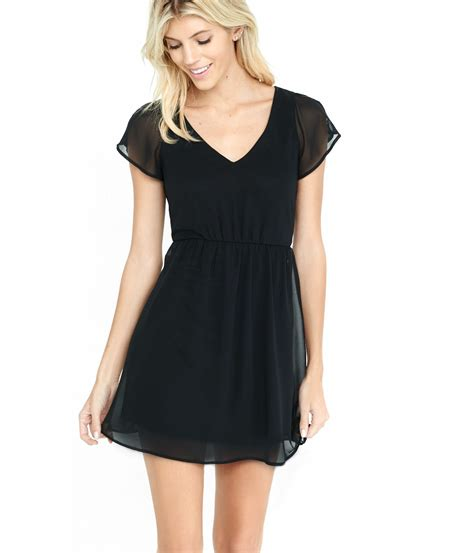 Sleeve V Neck Dress lyst express black v neck cap sleeve chiffon mini dress