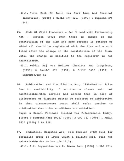 section 69 of partnership act compilation of judgments wherein it is held that quot suit not
