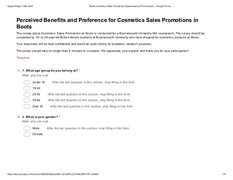 questionnaire survey for the research of cosmetics sales promotions i