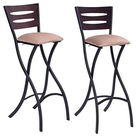 costway set of 2 folding counter bar stools bistro dining