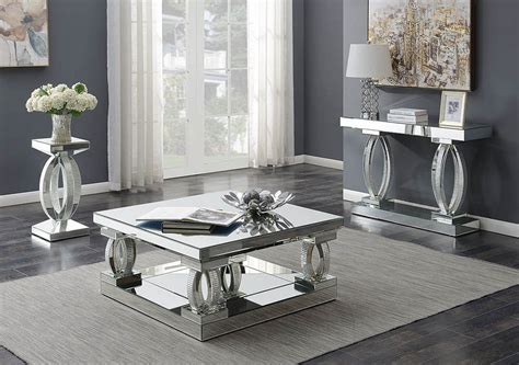 silhouette mirrored coffee table set living rooms