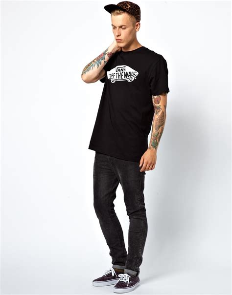 lyst vans tshirt the wall logo slim fit in black for