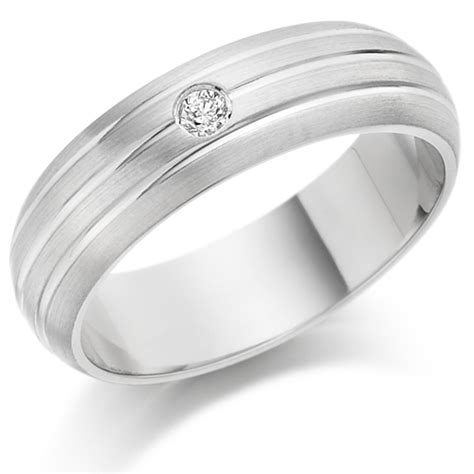 gents 6mm platinum ring with 3 parallel lines and set with