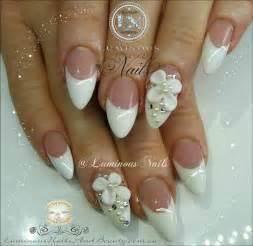 Luminous nails french nails with 3d flowers