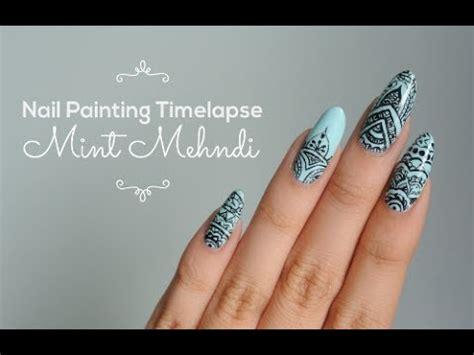 mehndi inspired nail art indian design youtube mint mehndi nail painting timelapse youtube
