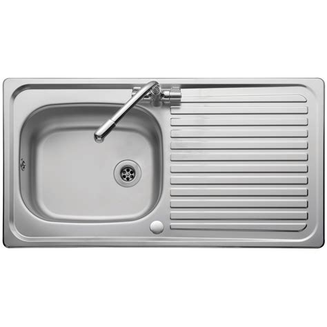 Kitchen Single Sink Leisure Sinks Linear Single Bowl And Drainer 950mm X 508mm Bright Finish Inset Kitchen Sink