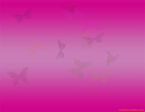 free pink powerpoint template with flying butterflies to