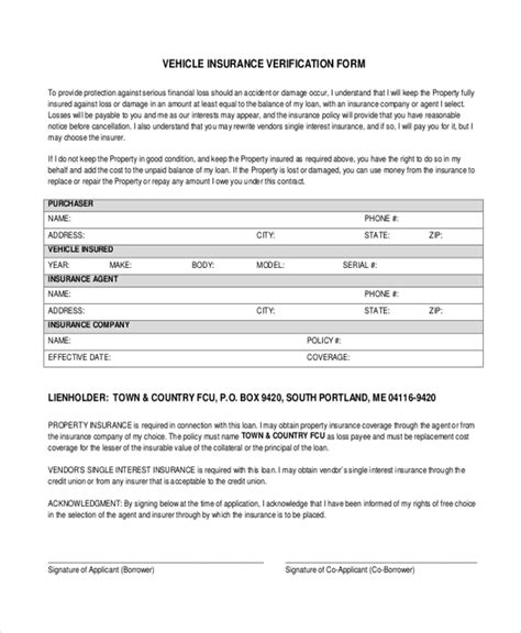 Auto Insurance Verification Car Insurance Form Template