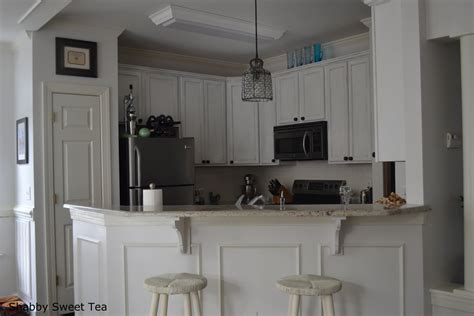 sloan chalk paint on kitchen cabinets kitchen wood flooring and beadboard backsplash idea