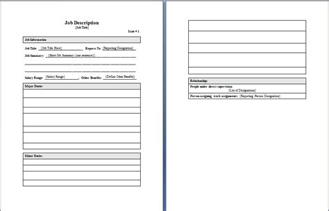 job description template format template