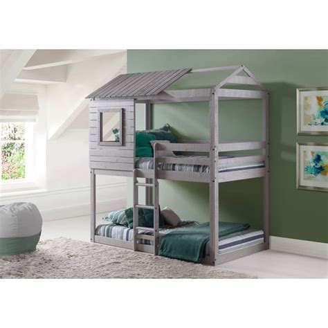 gray bunk beds donco kids loft style light grey twin over twin bunk bed
