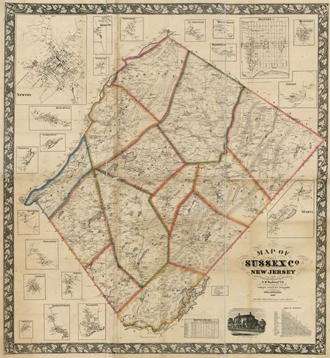 Sussex County Records 1860 Map Of Sussex County New Jersey From Actual Surveys