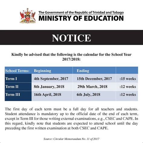 And Tobago Calendã 2018 School Calendar 2017 To 2018 And Tobago Rankin Tnt