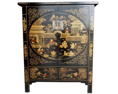 oriental cabinet black lacquer bedroom furniture chinese