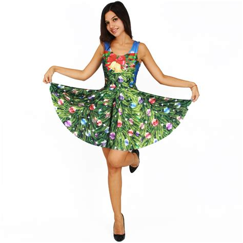 christmas themed dresses new women christmas dress festive bells trees flower 3d
