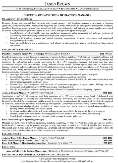 facilities manager resume facilities management resume sles