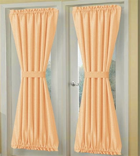 Blackout Curtains 72 Wide Solid Peach Apricot Cotton French Door Panels