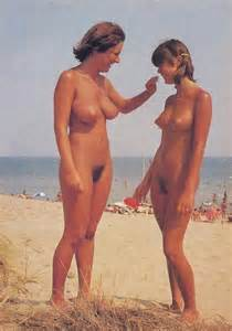 naturist mom and daughter posing naked on beach   nudist youth