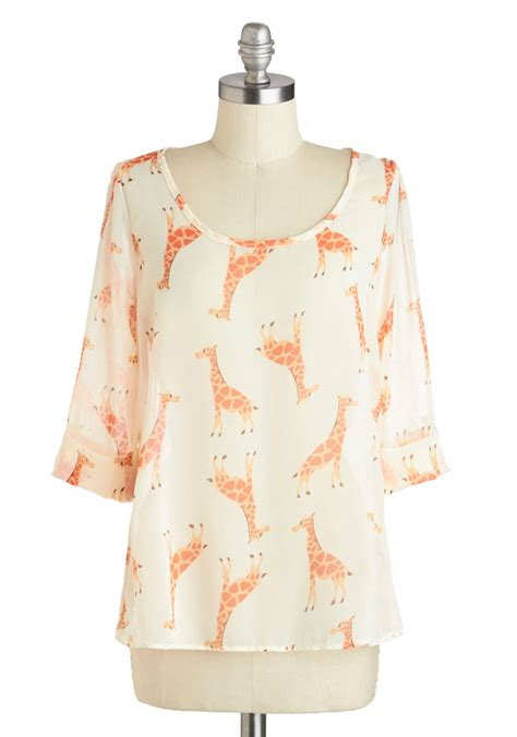 Giraffe Top by Daily Lunch Date Top In Giraffe Mod Retro Vintage
