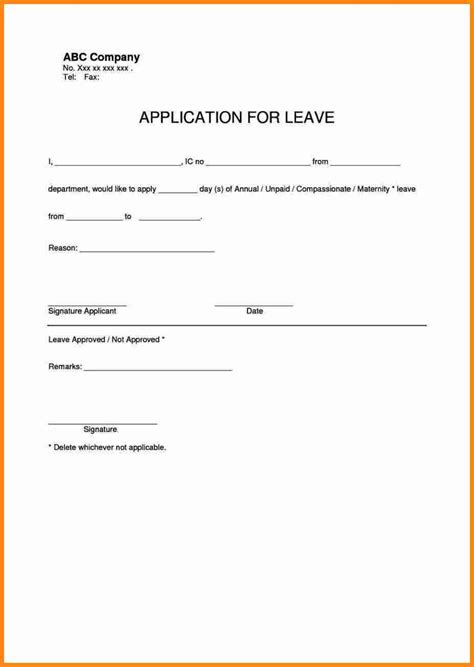 Application Letter Exle Doc Leave Application Template 28 Images 6 Leave Application Form Addressing Letter Doc 460595